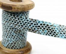 1 Meter Dekoband - Zierband - 20mm - Schlangen-Look - Hellblau