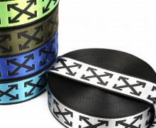 1m Gurtband - Deco - Pfeilmuster - Glanz - 40mm - Schwarz/Silber