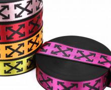 1m Gurtband - Deco - Pfeilmuster - Glanz - 40mm - Schwarz/Pink