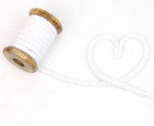 1m Kordel - Rope Bowl - Lurexfäden - Glitzer - 10mm - Weiß