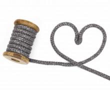 1m Kordel - Rope Bowl - Lurexfäden - Glitzer - 10mm - Dunkelgrau