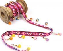 1 Meter Perlenborte mit Zierband - Dekoband - Perlen - Bunt - Weiß/Rot/Pink/Blau