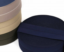 1m Faltgummi - elastisch - Faltband - Einfassband - uni - 60mm - Dunkelblau