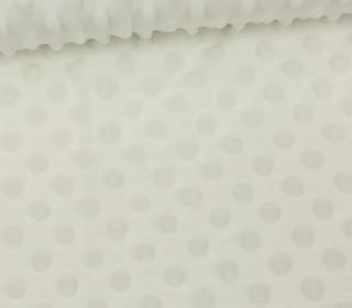 Minky - Microfaser-Plüsch - Dots - Punkte - Warmweiß