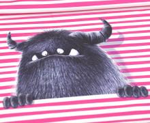 Modal - Jersey - Bio Qualität - Monsterparty - Paneel - Gruffy Klein - Pinke Streifen - Thorsten Berger - abby and me