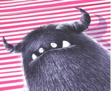 Modal - Jersey - Bio Qualität - Monsterparty - Paneel - Gruffy Groß - Pinke Streifen - Thorsten Berger - abby and me