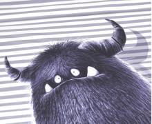 Modal - Jersey - Bio Qualität - Monsterparty - Paneel - Gruffy Groß - Graue Streifen - Thorsten Berger - abby and me