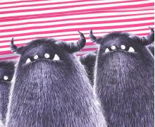 Modal - Jersey - Bio Qualität - Monsterparty - Paneel - Gruffy Gruppe - Pinke Streifen - Thorsten Berger - abby and me