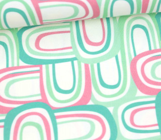 Jersey - Ecru - Bio Qualität - Retro Rainbows - Mint - Anna Anjos - abby and me