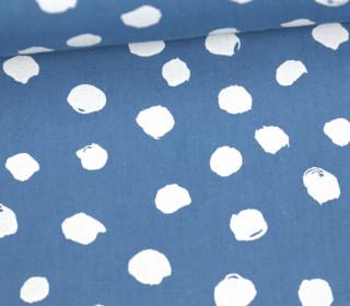 Leichter Baumwollstoff - Große Unregelmäßige Kreise - Taubenblau/Weiß