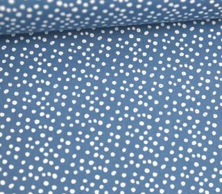 Leichter Baumwollstoff - Mini Pünktchen - Taubenblau/Weiß
