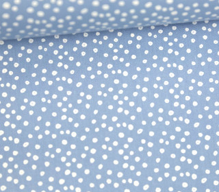 Leichter Baumwollstoff - Mini Pünktchen - Hellblau/Weiß