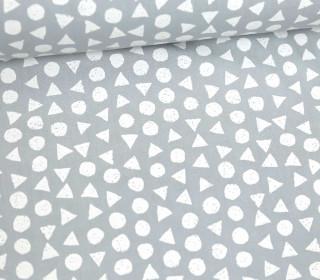 Leichter Baumwollstoff - Kreise Und Dreiecke - Hellgrau/Weiß