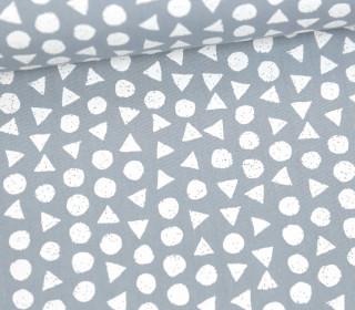 Leichter Baumwollstoff - Kreise Und Dreiecke - Grau/Weiß