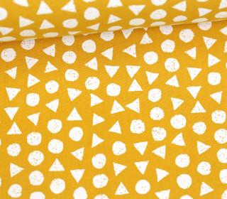 Leichter Baumwollstoff - Kreise Und Dreiecke - Senfgelb/Weiß