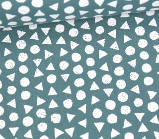 Leichter Baumwollstoff - Kreise Und Dreiecke - Lichtgrün Dunkel/Weiß