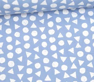 Leichter Baumwollstoff - Kreise Und Dreiecke - Hellblau/Weiß