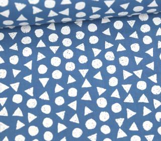 Leichter Baumwollstoff - Kreise Und Dreiecke - Taubenblau/Weiß