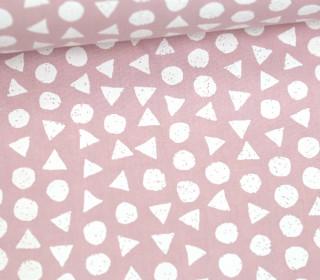 Leichter Baumwollstoff - Kreise Und Dreiecke - Pastellrosa/Weiß