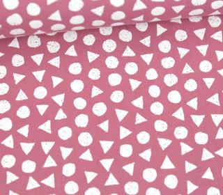 Leichter Baumwollstoff - Kreise Und Dreiecke - Altrosa/Weiß