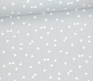 Leichter Baumwollstoff - Kleine Dreiecke - Hellgrau/ Weiß