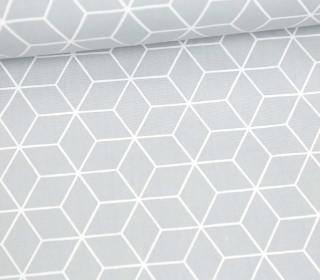 Leichter Baumwollstoff - Kleines Rautenmuster - grafisch - Hellgrau/Weiß