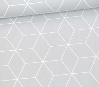 Leichter Baumwollstoff - Großes Rautenmuster - grafisch - Hellgrau/Weiß