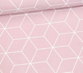 Leichter Baumwollstoff - Großes Rautenmuster - grafisch - Pastellrosa/Weiß