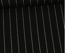 Viskose - Fashionstoff - Blusenstoff - Nadelstreifen - 15mm - Schwarz