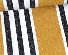 Handgewebt - Baumwolle - Streifen - Schwarz/Weiß/Ocker