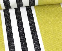 Handgewebt - Baumwolle - Streifen - Schwarz/Weiß/Olivgrün