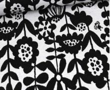 Jacquard Jersey - Blumenmuster - Rebekah Ginda - Schwarz/Weiß