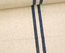 Handgewebt - Baumwolle - Streifen - Beige/Dunkelblau