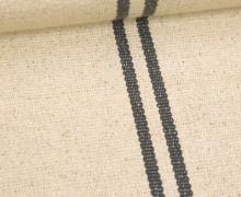 Handgewebt - Baumwolle - Streifen - Beige/Grau