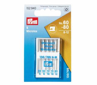 5 Nähmaschinennadeln - Microtex - Nr. 60-80 - Prym - Silber
