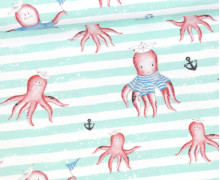 Jersey - Bio Qualität - Kombistoff -  Krakenliebe - Breite Streifen Mint - Treeebird - Weiß - abby and me
