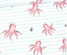 Jersey - Bio Qualität - Kombistoff -  Krakenliebe - Schmale Streifen Mint - Treeebird - Weiß - abby and me