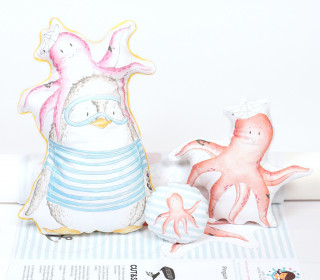 Kissenstoff - DIY - Krakenliebe - Pinguin Luis - Kissen-Set - 3 Kissen - Treeebird - abby and me