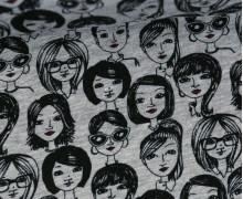 Viskose - Frauengesichter - Hellgrau Meliert