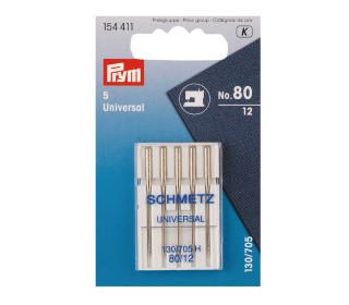5 Nähmaschinen Nadeln - Universal Nr.80 - Prym - Silber