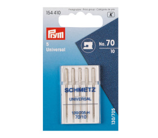 5 Nähmaschinen Nadeln - Universal Nr.70 - Prym - Silber