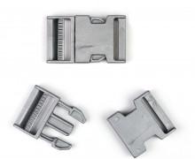 2 Steckschnallen - 40mm - Kunststoff - Silber