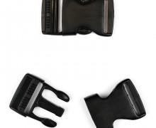 2 Steckschnallen - 30mm - Kunststoff - Schwarz - Abgerundet