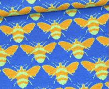 Bündchen - Jacquard - Biene - Strickschlauch - Gelb/Jeansblau