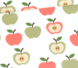 Jersey - Ecru - Bio Qualität - Retro Apples - Rot - abby and me