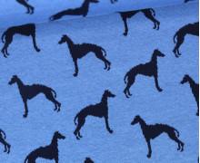 Jacquard Stoff - Interlock - Windhunde - Jeansblau/Dunkelblau