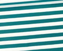 Jersey - Streifen - Breit - Petrol/Weiß