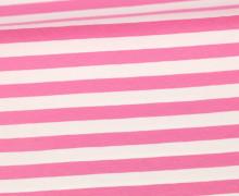 Jersey - Streifen - Breit - Rosa/Weiß