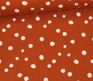 Baumwollstoff - Punktevielfalt - Rostorange/Weiß