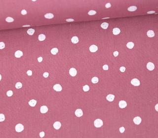 Baumwollstoff - Punktevielfalt - Altrosa/Weiß